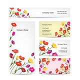 Business cards design, floral bouquet Royalty Free Stock Photos