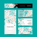 Business cards design, floral style Royalty Free Stock Photography