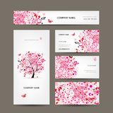 Business cards design with floral tree pink
