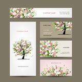 Business cards design with floral tree sketch Stock Photo