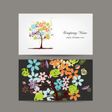 Business cards design with floral tree Royalty Free Stock Image
