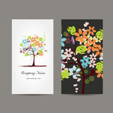 Business cards design with floral tree Royalty Free Stock Photo