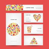 Business cards design, fruit collection Stock Images