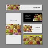 Business cards design, fruit market sketch Stock Photography
