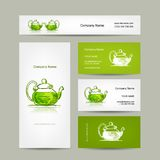 Business cards design, green trea sketch Stock Photo