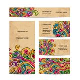 Business cards design with grunge wave pattern Stock Image