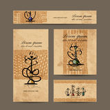 Business cards design with hookah sketch. Vector illustration Stock Photos