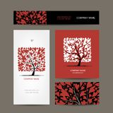 Business cards design with love tree Royalty Free Stock Photos