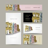 Business cards design with old city street sketch Royalty Free Stock Image