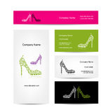 Business cards design, ornate female shoes Royalty Free Stock Image