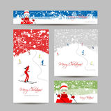 Business cards design. People skiing, winter Stock Image