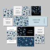 Business cards design, russian gzhel ornament Stock Photos