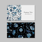 Business cards design, russian gzhel ornament Royalty Free Stock Photo