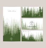 Business cards design set of green forest and mountains backgrou. Nds. Templates design for greeting, prints, web design, invitation. Set of stylish cards Royalty Free Stock Photo