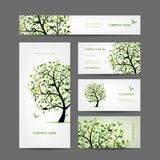Business cards design, spring tree with birds Stock Photo