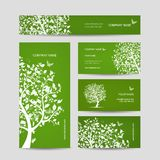 Business cards design, spring tree with birds Royalty Free Stock Photo