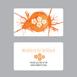 Business cards design template with watercolor drawings of plants Royalty Free Stock Images