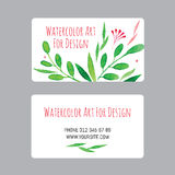 Business cards design template with watercolor drawings of plants royalty free illustration