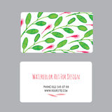 Business cards design template with watercolor drawings of plants Royalty Free Stock Photography