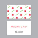 Business cards design template with watercolor drawings of plants Stock Image