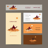 Business cards design. Traveling by camel at Stock Images