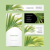 Business cards design, tropical leaf Royalty Free Stock Photo