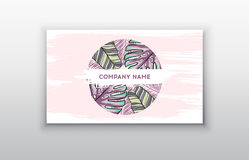 Business cards design, tropical leaf. Vector illustration. Corporate identity templates in tropical style Stock Photos