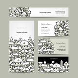 Business cards design, winter cityscape sketch Royalty Free Stock Image