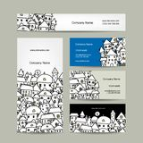 Business cards design, winter cityscape sketch Stock Photography
