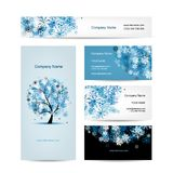 Business cards design, winter tree Royalty Free Stock Images