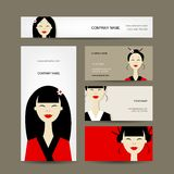 Business Cards Design With Asian Girls Royalty Free Stock Image