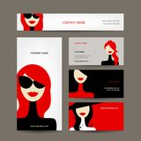 Business cards design with women faces Stock Photography