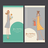business cards with fashion girls Stock Photos