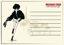Business cards with fashion woman. Vector illustration. Business cards with fashion woman royalty free illustration