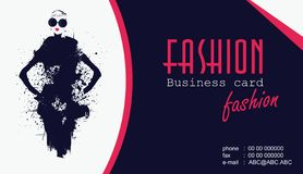 Business cards with fashion woman. Vector illustration. Business cards with fashion woman stock illustration