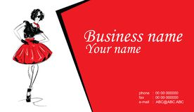 Business cards with fashion woman. Vector illustration. Business cards with fashion woman vector illustration