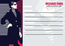 Business cards with fashion woman. Vector illustration. Business cards with fashion woman in style Pop art royalty free illustration