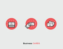 Business cards flat illustration Set of line modern icons. Royalty Free Stock Photography