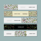 Business cards, floral banners design Royalty Free Stock Images