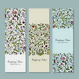 Business cards, floral banners design Stock Images