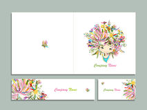 Business cards, floral girl for your design stock illustration