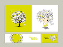 Business cards with floral girl for your design stock illustration