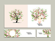 Business cards, floral girl for your design vector illustration