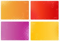 Business cards with floral and halftone designs. Multicolored templates for business cards, banners with floral and halftone design Stock Photos