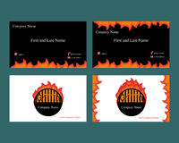 Business cards with grill logo. Business cards with fire element and grill logo Stock Images