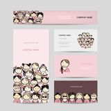 Business cards, group of women sketch. Vector illustration Royalty Free Stock Image