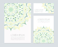Business cards with hand drawn  floral ornaments. Vector illustration eps 10 Stock Photo