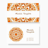 Business cards with hand drawn round ornament / Mandala style Stock Photo