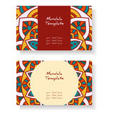Business cards with hand drawn round ornament / Mandala style Stock Image