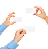 Business cards in hands Royalty Free Stock Photography